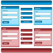 Web design template inc elements with login and register modules buttons and menu bars in blue and red Isolated on white