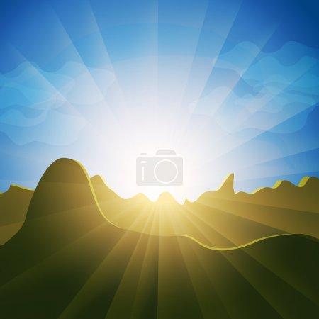 Sunburst rays over mountain tops