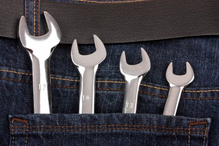 Photo for Spanners in jeans pocket close up - Royalty Free Image