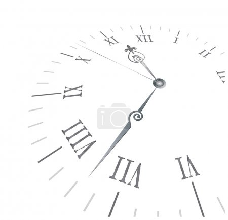 Illustration for Old clock with roman numbers in editable vector format - Royalty Free Image