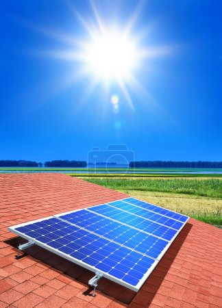 Solar-cell array on the roof of private home...