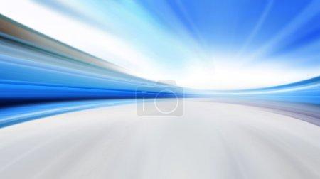 Foto de Conducción a alta velocidad en carretera vacía - desenfoque de movimiento - Imagen libre de derechos