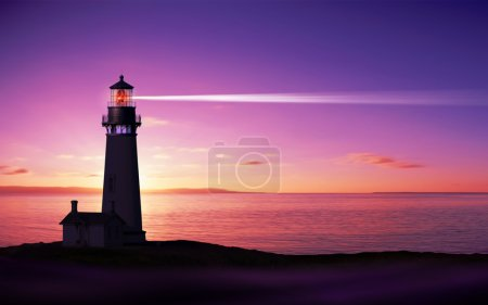 Photo for Lighthouse searchlight beam through marine air at night - Royalty Free Image