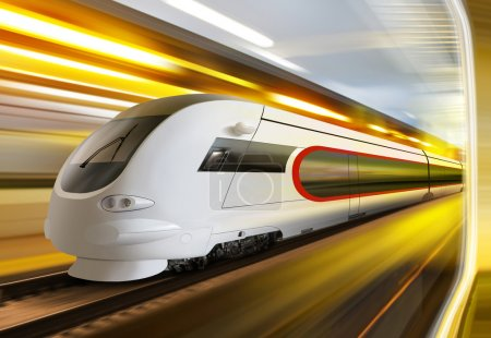 Super streamlined train with motion blur moves in ...