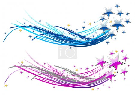 Illustration for Two abstract comets with stars - Royalty Free Image