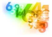 Numbers on the abstract background