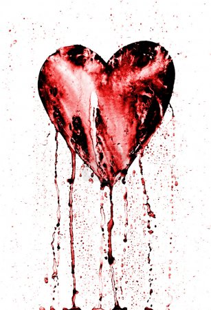 Photo for Detail of the painted heart - symbol of love - in grunge style - Royalty Free Image