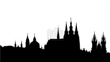 Prague skyline - famous landmark - vector