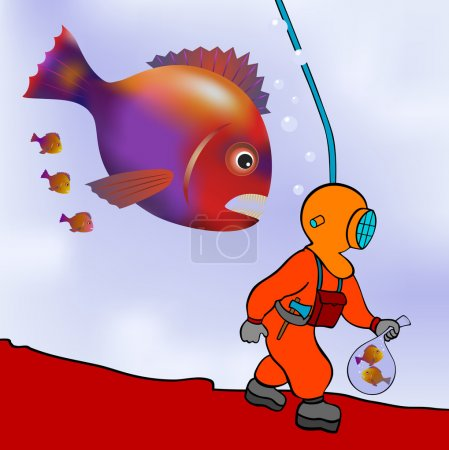Illustration for Cartoon illustration of the deep sea diver on the prowl - vector - Royalty Free Image