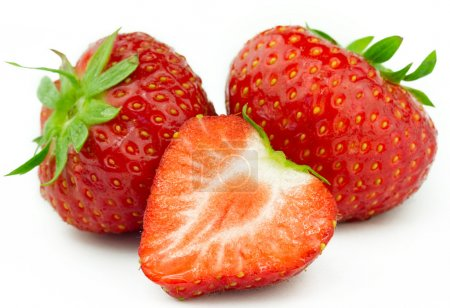 Photo for Beautiful strawberries isolated on white - Royalty Free Image