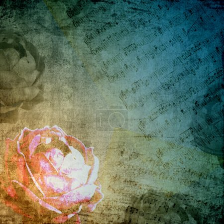 Romantic background in retro style with silhouette of rose, old paper and m