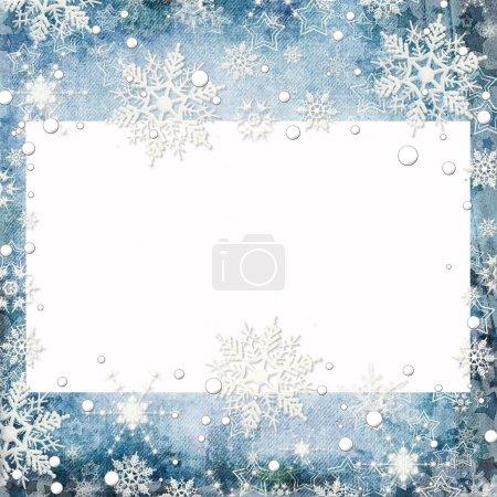 Foto de Resumen antecedentes de invierno con copos de nieve y colocar texto - Imagen libre de derechos