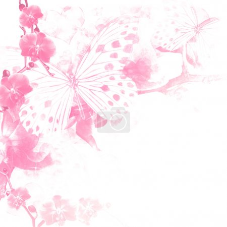 papillons et fleurs rose fond