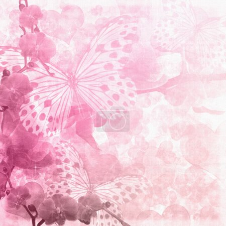 Butterflies and orchids flowers pink background...
