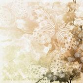 "Постер, картина, фотообои ""бабочки и орхидеи цветы бежевый фон (1 комплект)"""