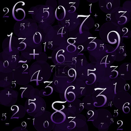 Maths numbers and signs on violet background...