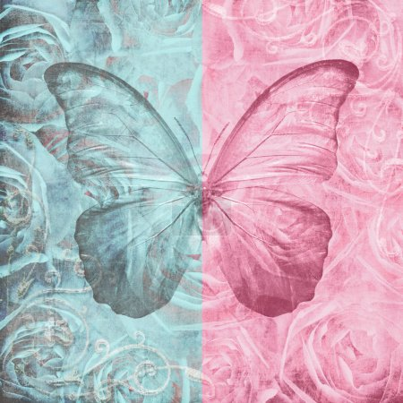 Photo pour Vieux grungy papier texturisé avec roses et papillons - image libre de droit