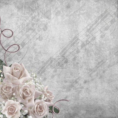 fond de jour de mariage avec des roses et des notes
