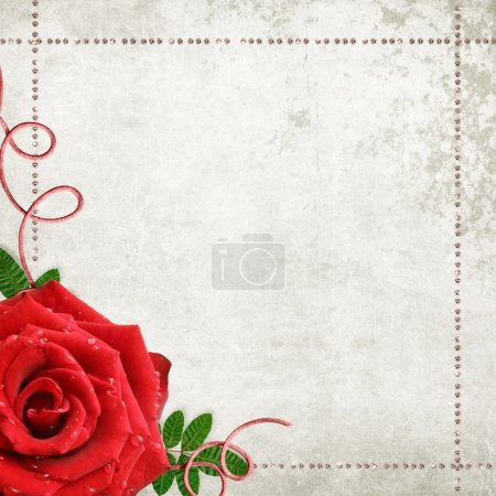 Romantic vintage background wits rose and diamonds