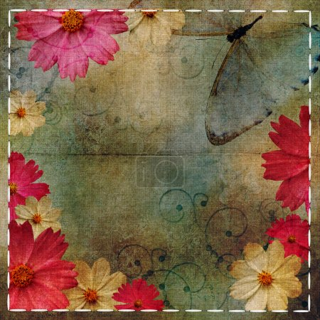 Vintage Floral design background and butterflies