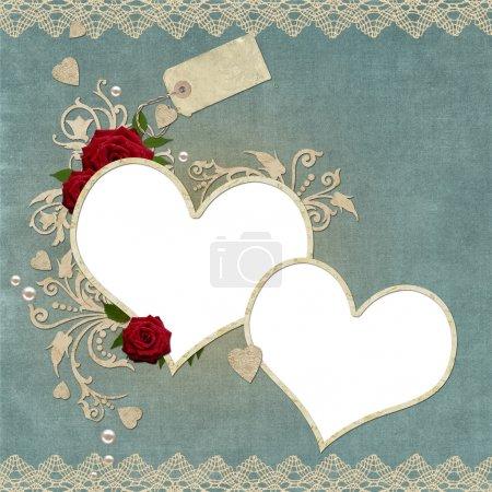 cadre Vintage coeurs élégant avec rose, dentelle et perles