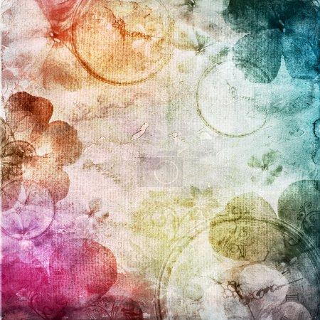 fond aquarelle avec fleurs