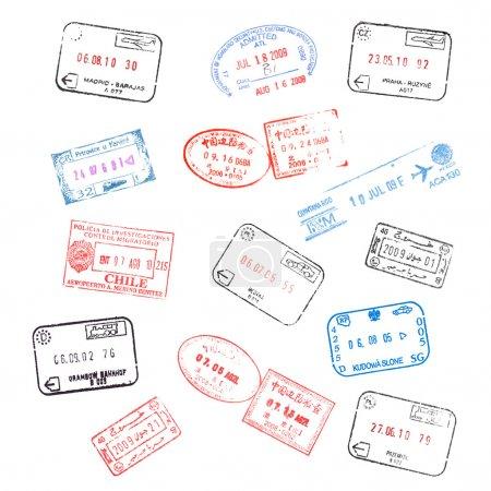 ensemble de différents timbres de visa passeport