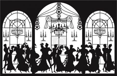 Illustration pour Arrière-plan avec des silhouettes de couples dansants - image libre de droit
