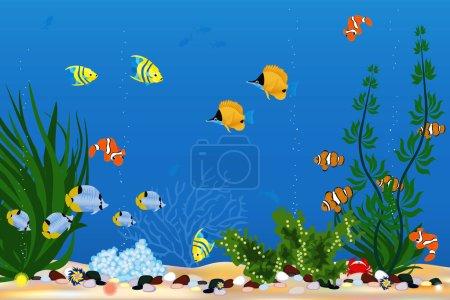 Illustration pour Fond avec de beaux poissons tropicaux - image libre de droit