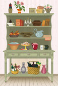 Vintage cupboard with kitchen utensils and food - vector illustration
