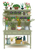 Retro wooden cabinet with houseplants