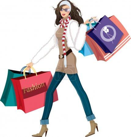 Illustration pour Belle jeune femme avec des sacs à provisions - image libre de droit
