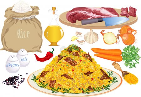 Illustration for Vector illustration of pilaf and pilaf ingredients: rice, meat, vegetable oil, onion, carrot, garlic, pepper, chilly pepper, salt, curcuma - Royalty Free Image
