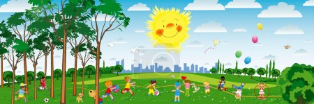 Photo for Vector illustration of little kids playing on the playground - Royalty Free Image