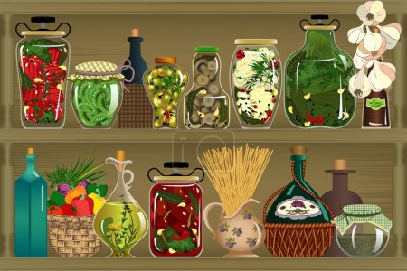 Illustration for Vector illustration of homemade canned vegetables - Royalty Free Image