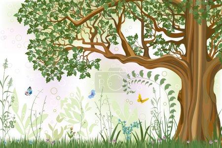 Illustration pour Fond d'été avec chêne dans une prairie illustration vectorielle - image libre de droit