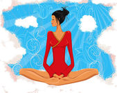 Vector illustration of woman meditating in the lotus position