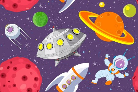 Photo for Cartoon background with ufo, rocket, astronaut, satellite and planets against the starry sky - vector illustration - Royalty Free Image