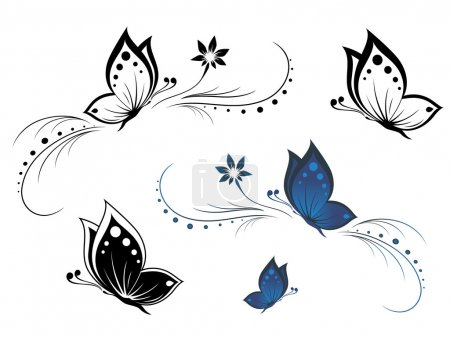Illustration for Butterflies with a flower pattern - Royalty Free Image