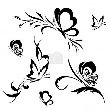 Illustration pour Papillons avec un motif de fleurs - image libre de droit