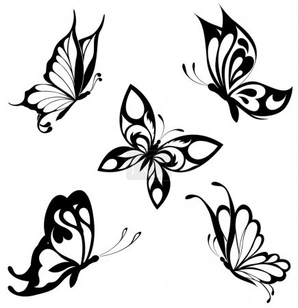 Illustration for Set black white butterflies of a tattoo - Royalty Free Image
