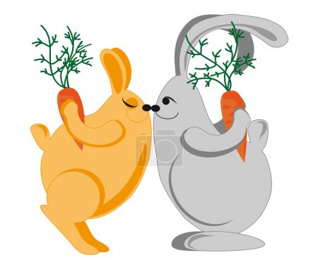 Illustration for A couple of rabbits kiss and give each other carrots - Royalty Free Image