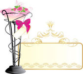Vase with bouquet of pink roses and bow Vector illustration