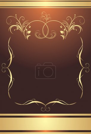 Illustration for Golden frame on the brown background. Wrapping. Vector illustration - Royalty Free Image
