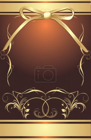Golden bow with decorative frame. Background for wrapping