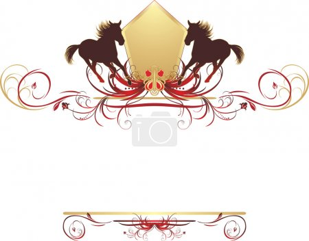 Silhouettes of hurrying horse on the stylish ornament. Element for design