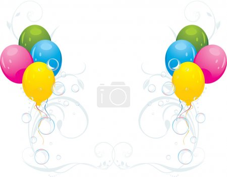 Colorful balloons with floral ornament and bubbles. Festive composition