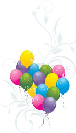 Colorful balloons with decorative sprigs and bubbles