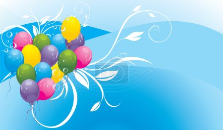 Colorful balloons with floral ornament and bubbles. Banner