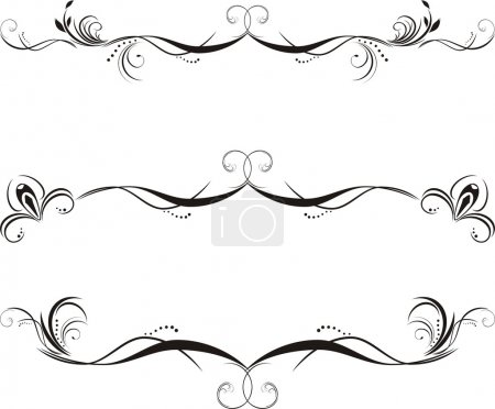Illustration for Three decorative floral borders. Vector illustration - Royalty Free Image
